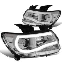 Pair Chrome Housing Clear Side 3D LED DRL Tube Bar Projector Headlight Lamps Replacement for Chevy Colorado 15-20