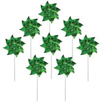 In the Breeze 2709 Sparkling Mylar Pinwheel Decorative Spinner-8 Piece Bag, Green
