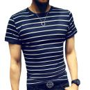 LOGEEYAR Mens Slim Fit Tshirt Stitching Stripe Short Sleeve Casual Shirt