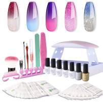 SEXY MIX Gel Nail Polish Kit with UV LED Light, Home Gel Nail Polish Kit Manicure Tools 5 Colors Changing Gel Nail Polish Base and Top Coat, Portable Kit for Travel