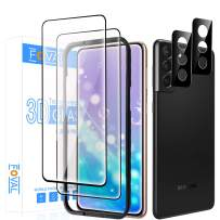 """(2+2 Pack) Galaxy S21 Screen Protector Tempered Glass(Full Coverage), (100% Support Fingerprint Unlock), Foval 2 Pack Screen Protector for Samsung Galaxy S21 5G (6.2"""")+ 2 Pack Camera Lens Protector [Case Friendlt][Easy Installation]"""
