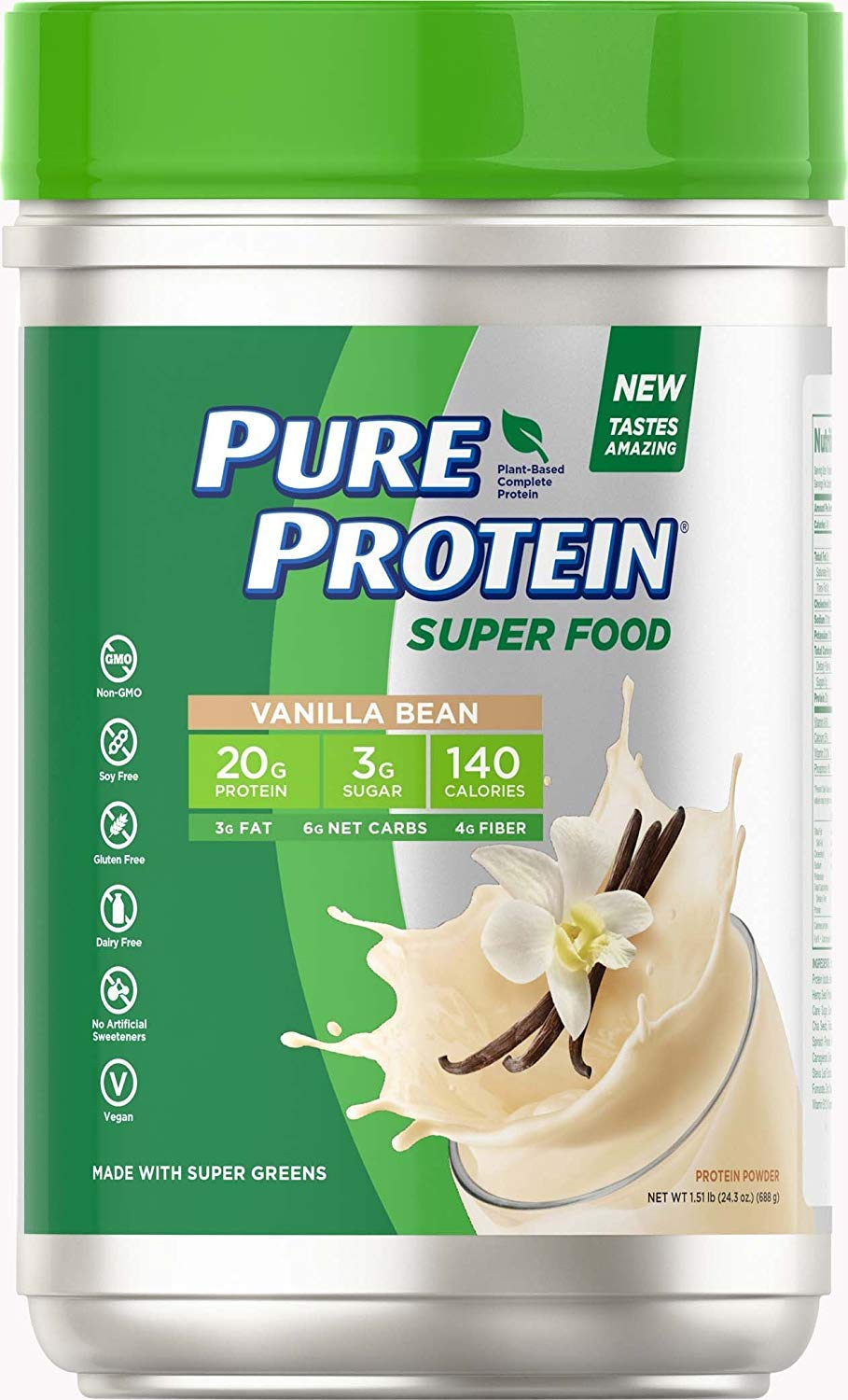 Pure Protein Vegan Plant Based Hemp and Pea Protein Powder, Gluten Free, Vanilla Bean, With Vitamin D and Zinc to Support Immune Health, 1.51 lbs