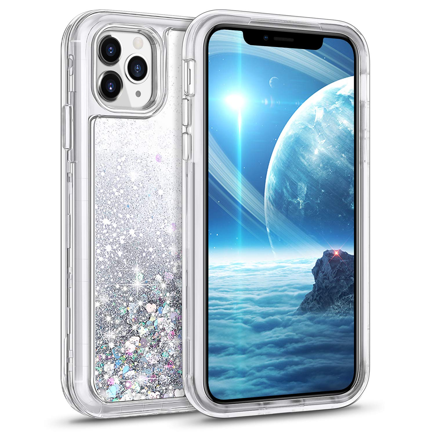 WESADN Case for iPhone 11 Pro Max Case Glitter Clear Cute Case Protective for Women Girls Shockproof Heavy Duty Hard Transparent Sparkle Cover TPU Bumper for iPhone 11 Pro Max,6.5 Inches,Silver