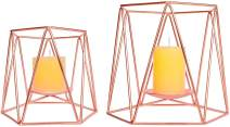 Le Sens Amazing Home Large Rose Gold Metal Pillar Candle Holders Set of 2, 4.7/6.2 inches, Geometric Tealiht Holders, Cegnterpiece for Wedding, Home Decor, Ceremony and Anniversary
