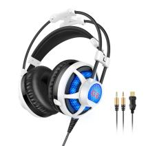 Honstek G6 Wired PC Gaming Headset, Foldable Hidden Retractable Microphone,USB and 3.5mm Stereo Surround, LED Lighting,Comfortable Headset for Laptop PC Computer …