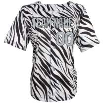 Pullonsy Black Zebra Pattern Custom Baseball Jersey for Men Women Youth Stitched Any Name & Numbers S-8XL,Creat Your Own