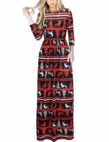 Ruiyige Women's Christmas Dress Xmas Christmas Print Party Ugly Christmas Long Maxi Dress