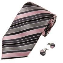 Y&G Men's Fashion Multi-Colored Stripes Necktie Various Gift Mens Silk Tie Cufflinks 2PT with Gift Box