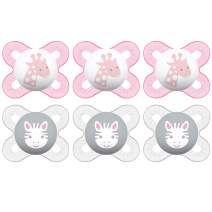 MAM Start Newborn Pacifiers Value Pack (6 Pack), Newborn Baby Girl Pacifiers, Best Pacifier for Breastfed Babies, 3 Self Sterilizing Baby Pacifier Cases