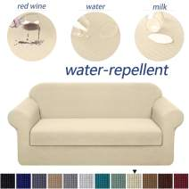 Granbest Stretch Sofa Slipcovers 3 Cushion Couch Covers Water-Repellent Pet Furniture Covers Dog Couch Protectors (Beige, XLarge-2 Pieces)
