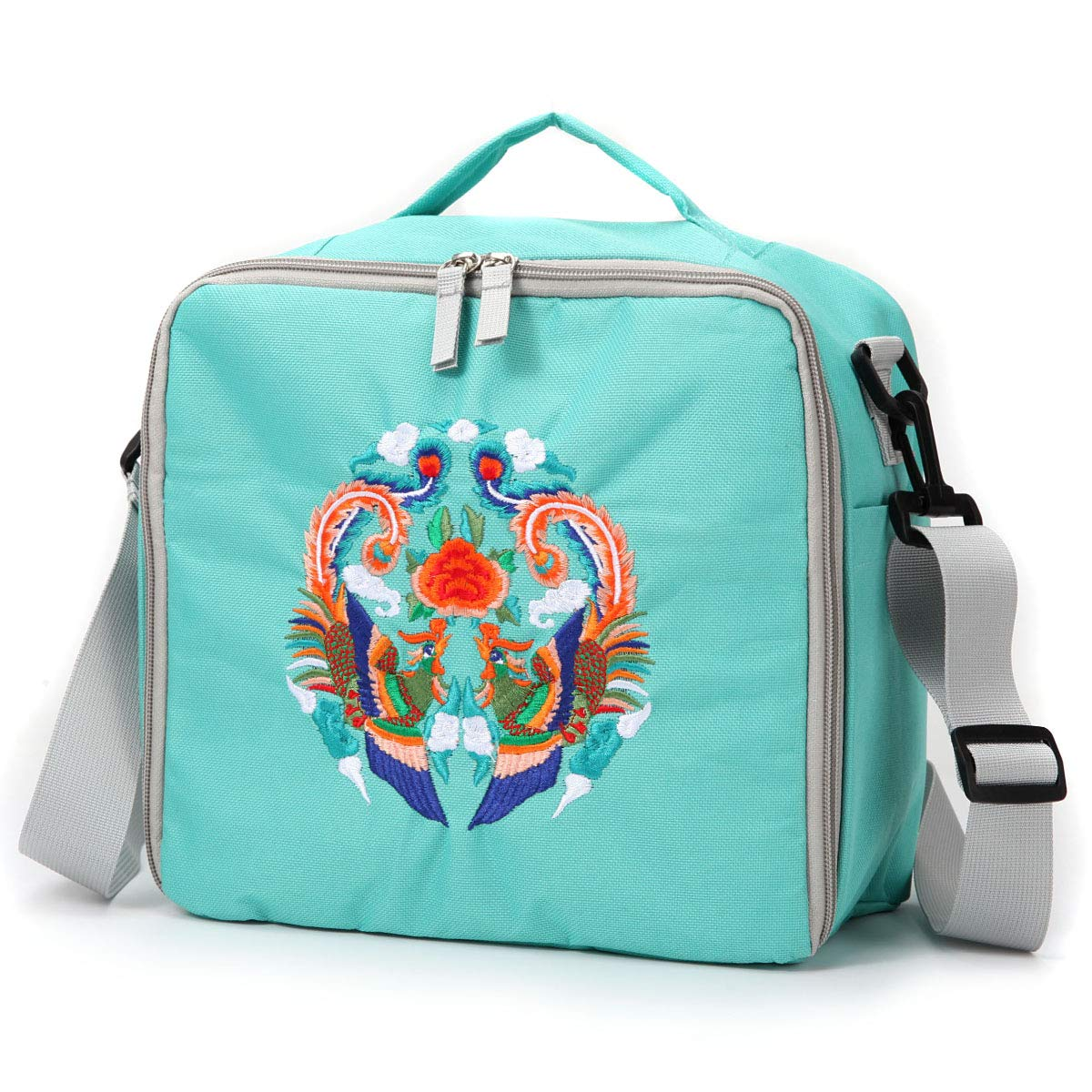 Embroidered Large Storage Tote Bag for Marker Pens Brush Pen Coloring Pencils Art and Crafts Supplies Tools Cosmetics (Green Phoenix Embroidery)