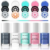 DR.MODE Nail Stamping Polish - 5 Bottles Solid Color Nail Polish, DIY Summer Lasting Pigmented Nail Varnish Lacquer Nail Art Stamp Gel Polish Set (Basic Pure Color Series)