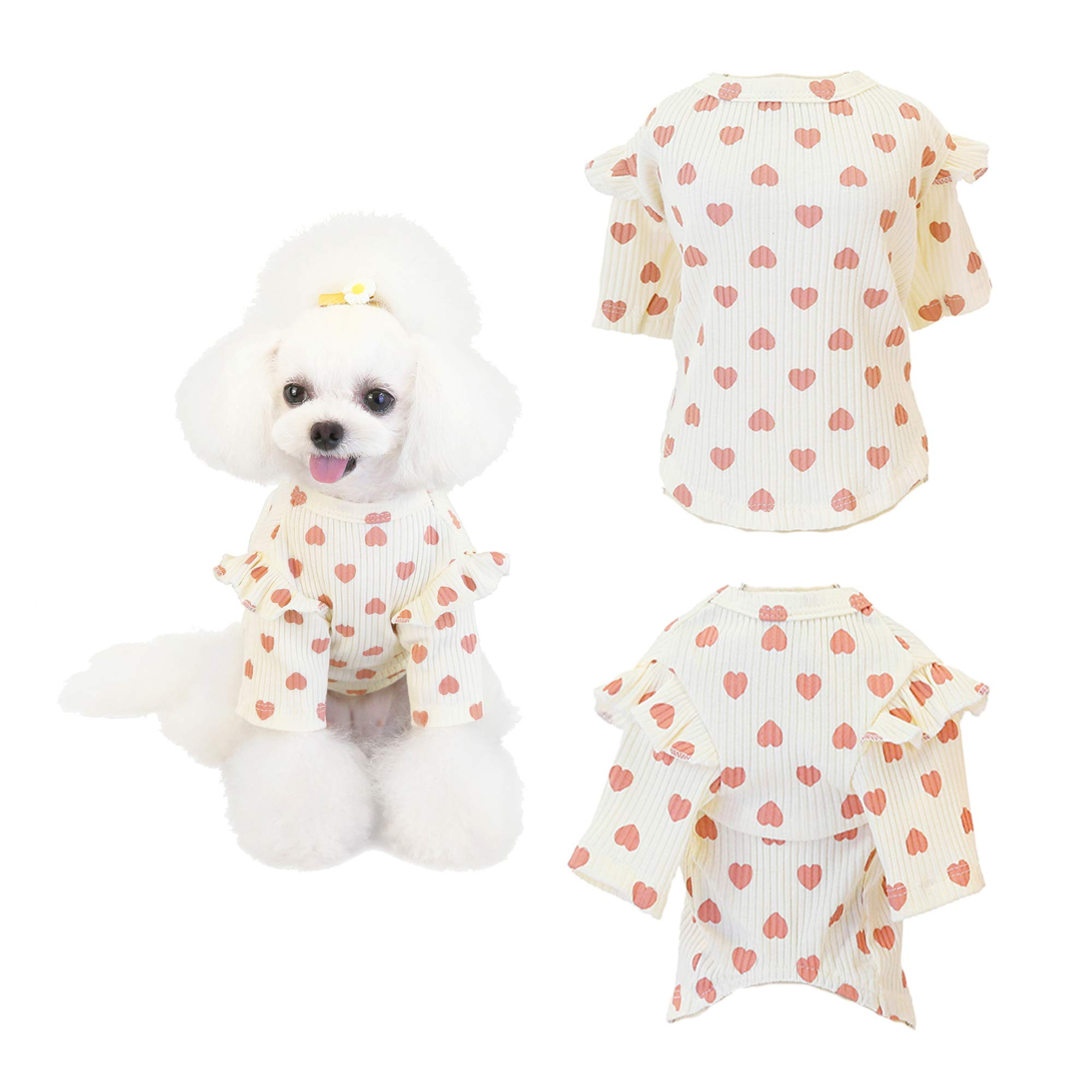 Xqpetlihai Dog Shirt with Short Sleeve Breathable Soft not Shrink Cotton Pet Apparel Dog T-Shirt with Heart Pattern for Small Medium Dogs Puppy Cats Kitten(White M)