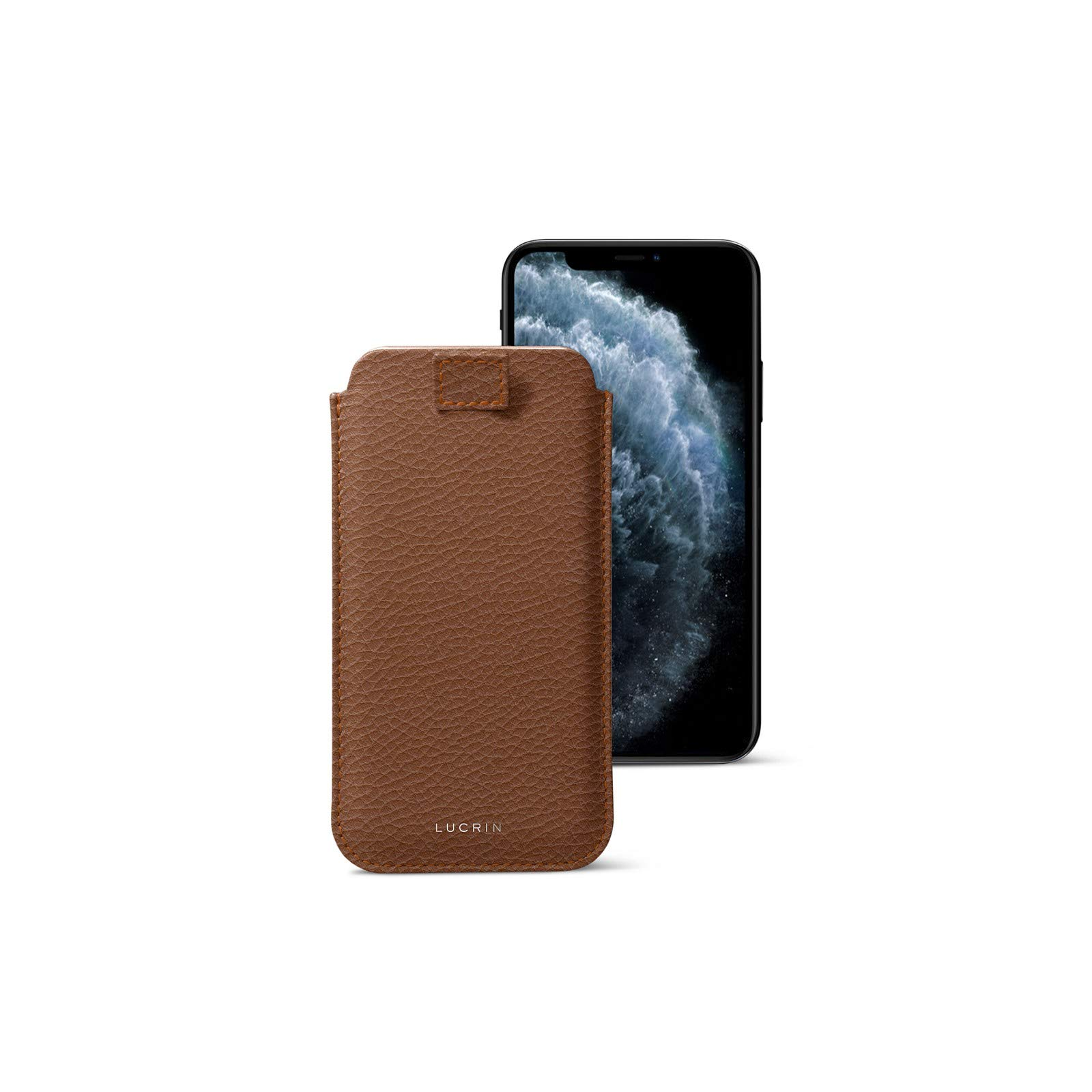 Lucrin - Pull-Up Strap Case Sleeve Cover Compatible with iPhone 11 Pro Max/XS Max/ 8 Plus and Wireless Charging - Tan - Granulated Leather