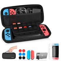 Nintendo Switch Case 3 in 1 Accessories with Game Card Slot Holder,Switch Clear Cover Case,Thumb Caps,Anti-Impact and Dust-Proof Switch Carrying Case