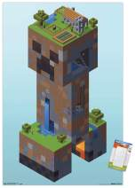 "Trends International Poster Mount Minecraft - Creeper Village, 14.725"" x 22.375"", Premium Poster & Mount Bundle"