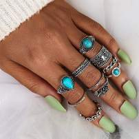 Drecode Boho Ring set Silver Turquoise Joint Knuckle Flower Hand Rings Stackable Midi Hand Jewelry for Women and Girls (10 Pcs)