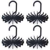 BigOtters 4 Pack Updated Twirl Tie Rack, 5.3 Inches Large Size Rotating Belt Scarf Hanger Holder Hook for Closet Storage (Black)