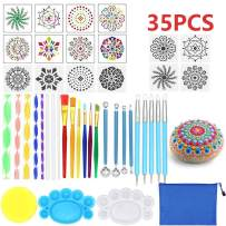 Mandala Dotting Tools, 35 PCS Dotting Tools Stencil Mandala Stencil Ball Stylus Brushes Paint Tray for Painting Rocks Coloring Drawing and Drafting