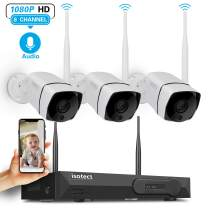 [Newest Strong Version WiFi] Isotect Security Camera System Wireless with Audio,8CH 1080P NVR 3Pcs 1080P Outdoor/Indoor Surveillance IP Cameras with Night Vision,Easy Remote View,No Hard Drive