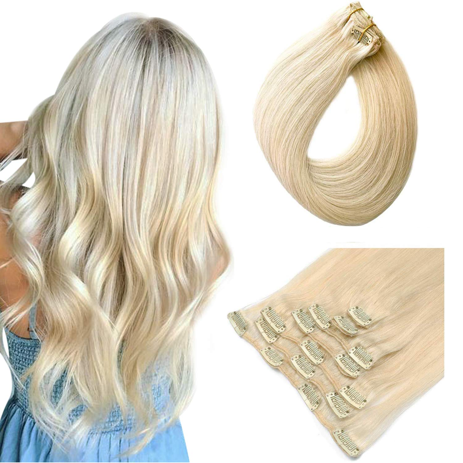 Blonde Clip in Real Human Hair Extensions Clip on Remy Hair Extensions for Women Double Weft Full Head Glueless Natural Soft Silky Straight #60 Platinum Blonde 70g 7pcs 16 Clips 20 Inch
