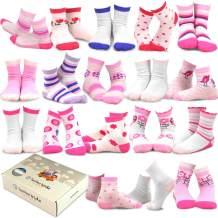 TeeHee Kids Girls Fashion Variety Cotton Crew 18 Pair Pack Gift Box