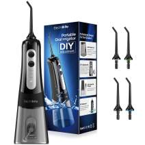 Water Flossers for Teeth - Cordless Portable 300ML Water Flosser Teeth Cleaner with DIY Mode, Rechargeable IPX7 Waterproof Dental Water Pick Oral Irrigator for Braces, 4 Modes, 4 Jet for Home & Travel