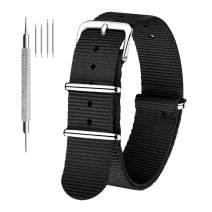 CIVO Watch Bands NATO Premium Ballistic Nylon Watch Strap Stainless Steel Buckle (Black, 18mm)