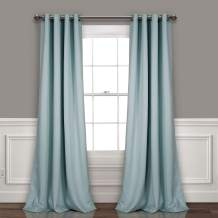 """Lush Decor, Blue Curtains-Grommet Panel with with Insulated Blackout Lining, Room Darkening Window Set (Pair), 120"""" L"""