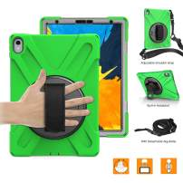 "BRAECNstock Shockproof Rugged Case for iPad Pro 11 inch 2018,[NOT Compatible iPad Pencil Charging] Heavy Duty Protective Case with Shoulder Strap,Rotatable Hand Strap/Kickstand for iPad Pro 11""(Green)"