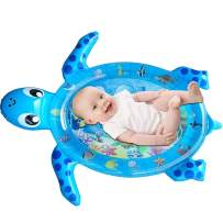 Kyerivs Inflatable Tummy Time Baby Water Mat Turtle Shape Infants and Toddlers Play, Mat Fun Activity Play Center for 3-12 Months Boy & Girl Stimulation Growth (Blue)