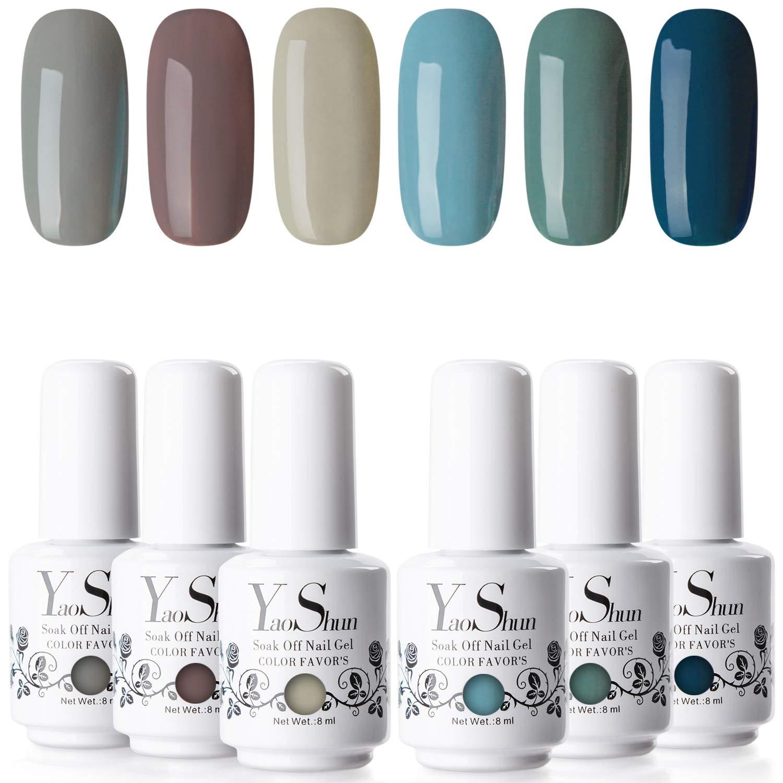 YaoShun Gel Polish Set - Dark Gray and Green Series Gel Polish Nail Art Gift Box, Soak Off Nail Gel Manicure UV Nail Gel Kit 8ml