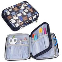 Yarwo Carrying Bag for Cricut Accessories, Organizer Case for Cricut Pen Set and Basic Tool Set Storage, Blue Cats Pattern, Bag Only