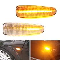 iJDMTOY Clear Sequential Blink Amber LED Side Marker Light Assembly Compatible With Mitsubishi Lancer Evo X Mirage Outlander Sport, Powered by 36-SMD LED, Replace OEM Sidemarkers
