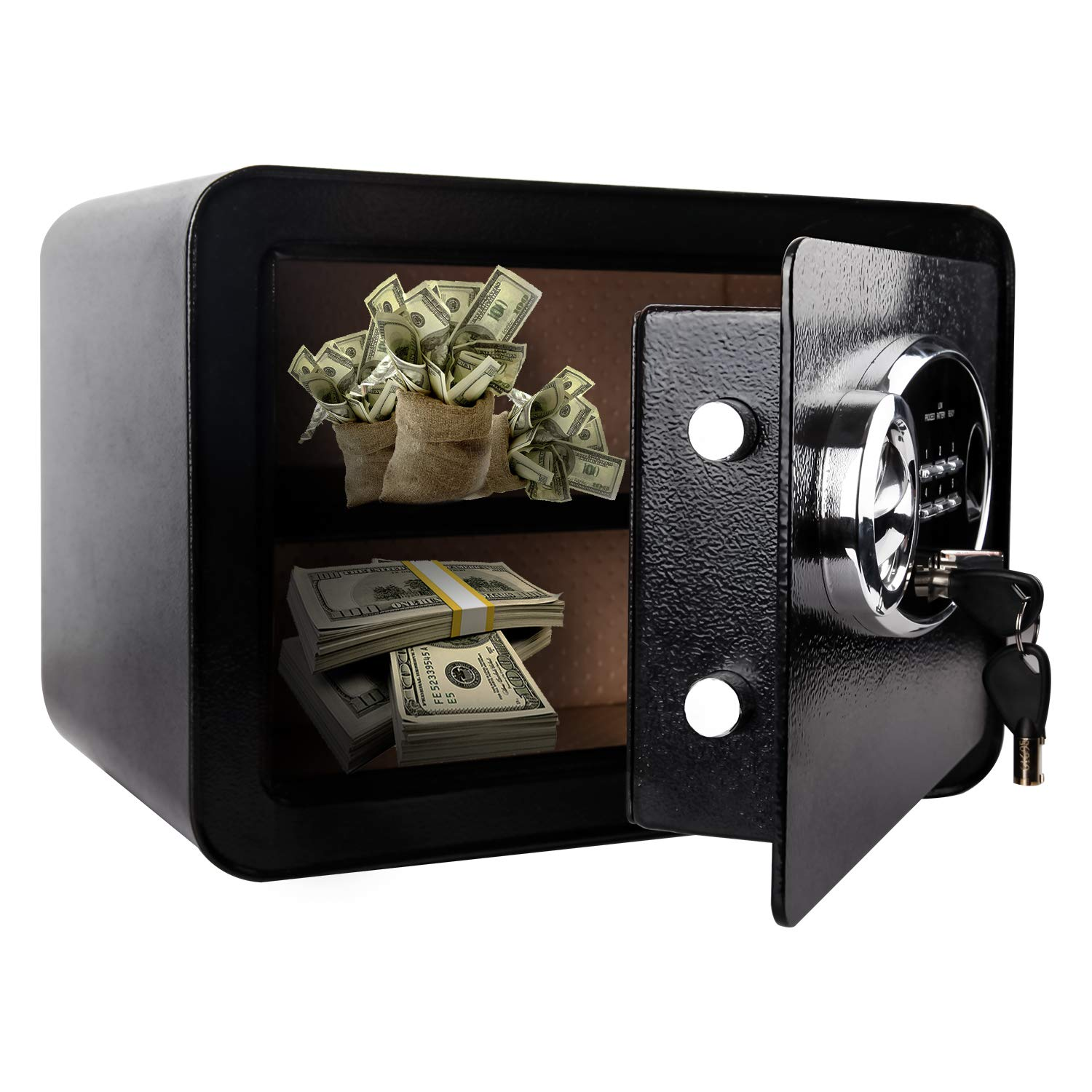 Security Safe Box, Digital and Fingerprint Lock with Key Lock, 13.8 x 9.8 x 9.8 Inches, Home Safe for Storing Jewelry Gun Cash Use Storage, Black