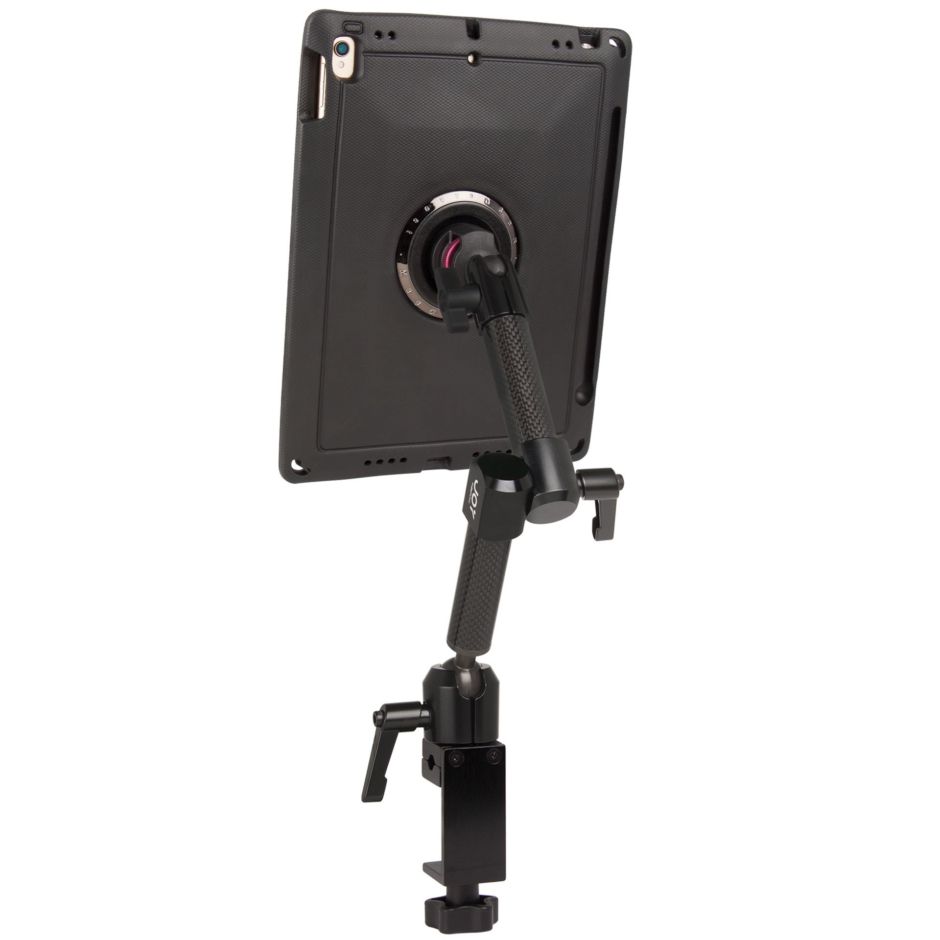 """The Joy Factory MagConnect Carbon Fiber C-Clamp Dual Arm Mount with aXtion Edge M Rugged Case for iPad Pro 10.5"""" and iPad Air 3 (MWA716)"""