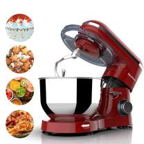Nurxiovo 7QT Stand Mixer Kitchen, Tilt-Head 6-Speed Food Stand Mixer, 660W Electric Cake Mixer with Dishwasher Safe Dough Hook, Whisk, Beater, Splash Lid and Strong Suction Cups Red