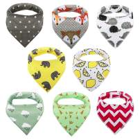 Zooawa 8 Pack Baby Bandana Drool Bibs for Drooling and Teething, Triangle Soft Absorbent Organic Cotton Baby Bibs Set with Adjustable Snap for Infant Girls Boys