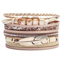 Wrap Multilayer Bracelets for Women - Leather Wristband Strand - Boho Bangle Gift Ideas for Teen Girls