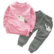 BomDeals Cute Cat Elephant Print Toddler Baby Girls Clothes Set,Long Sleeve T-Shirt +Pants Outfit