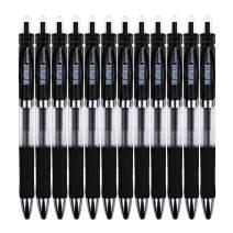 WoMoxe Retractable Rollerball Gel Pens, Medium Point 0.7mm Metal Tip Premium Quick Dry Black Ink (Pack of 12 Black)