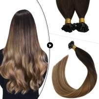 Ugeat Fusion Hair Extensions Human Hair 16 Inch Keratin Tip Hair Extensions Human Hair 50strands Flat Tip Hair Extensions Human Hair Ombre #2/6/12 Hair Extensions Human Hair Brown