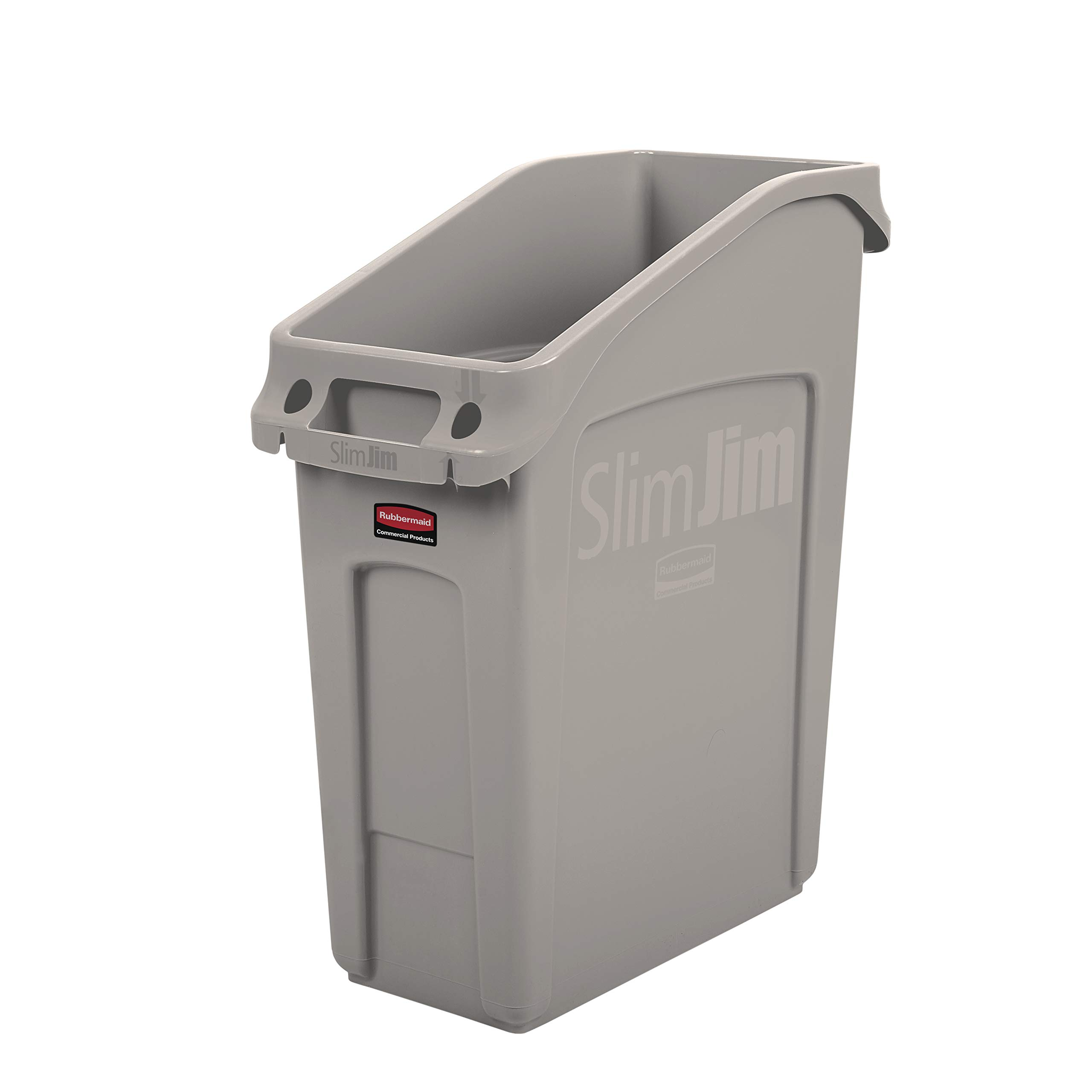 Rubbermaid Commercial Products 2026698 Slim Jim Under-Counter Trash Can with Venting Channels, 13 Gallon, Beige (Pack of 4)