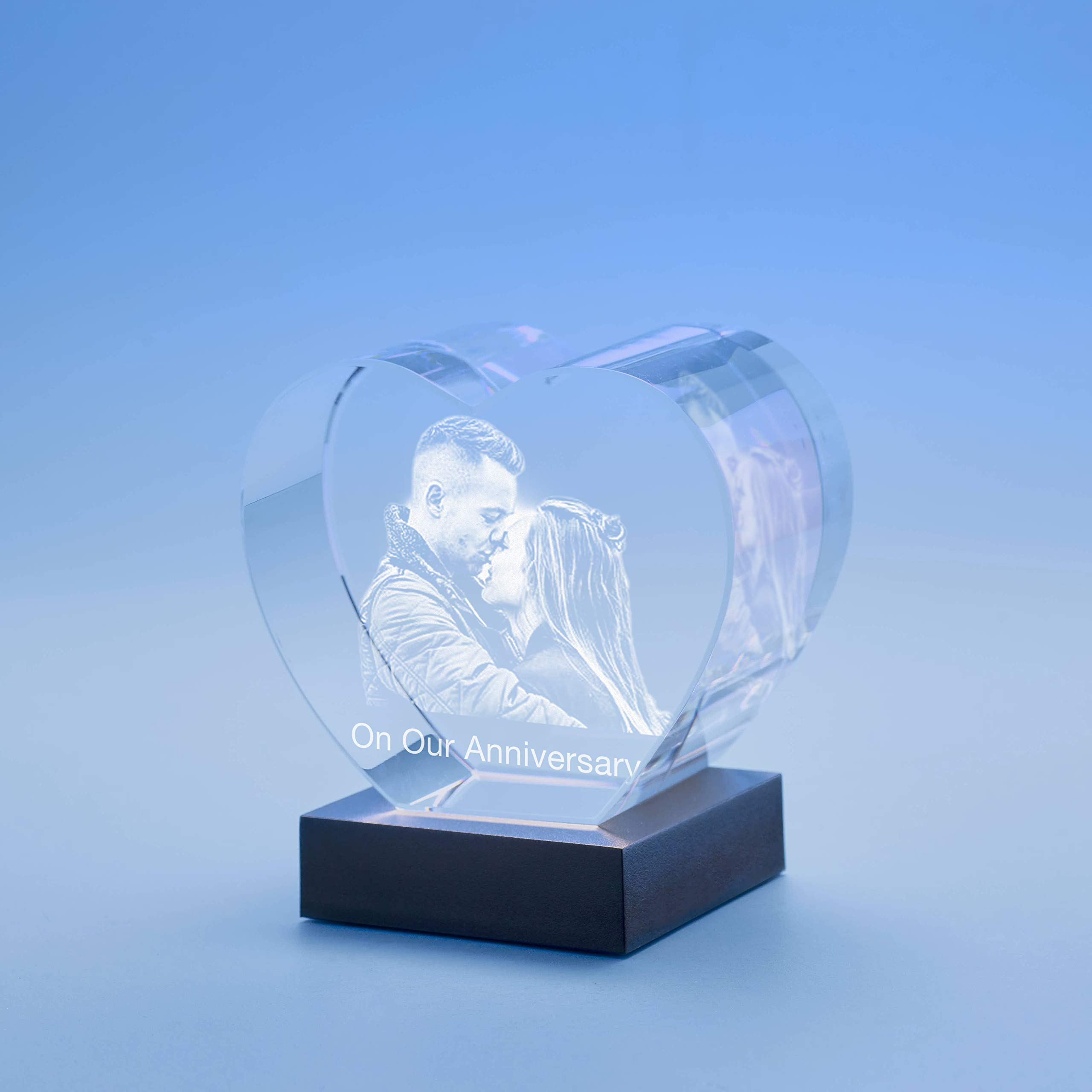 Anniversary Heart Crystal, 3D Engraved - Large with Black Base