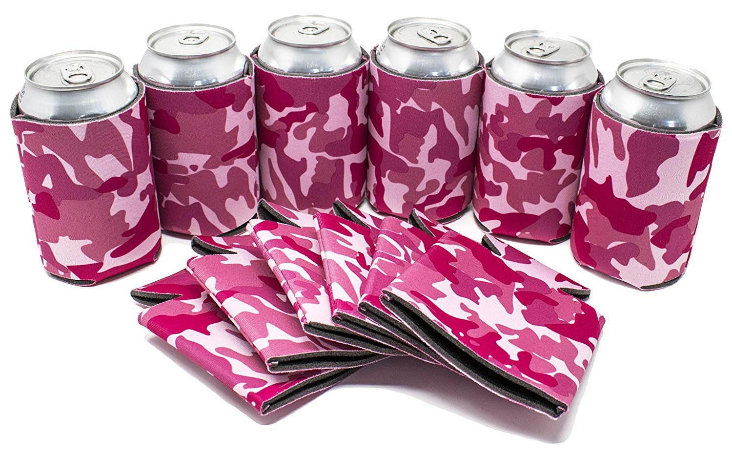 TahoeBay 12 Blank Beer Can Coolers, Plain Bulk Collapsible Soda Cover Coolies, DIY Personalized Sublimation Sleeves for Weddings, Bachelorette Parties, Funny HTV Party Favors (Pink Camo, 12)