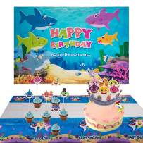 Blue Ocean Shark Birthday Party Backdrop Baby Shark Party Backdrop,Baby Shark Cake Toppers,Disposable Shark Plastic Tablecloth for Kids Shark Party Decorations Supplies-51 Pack