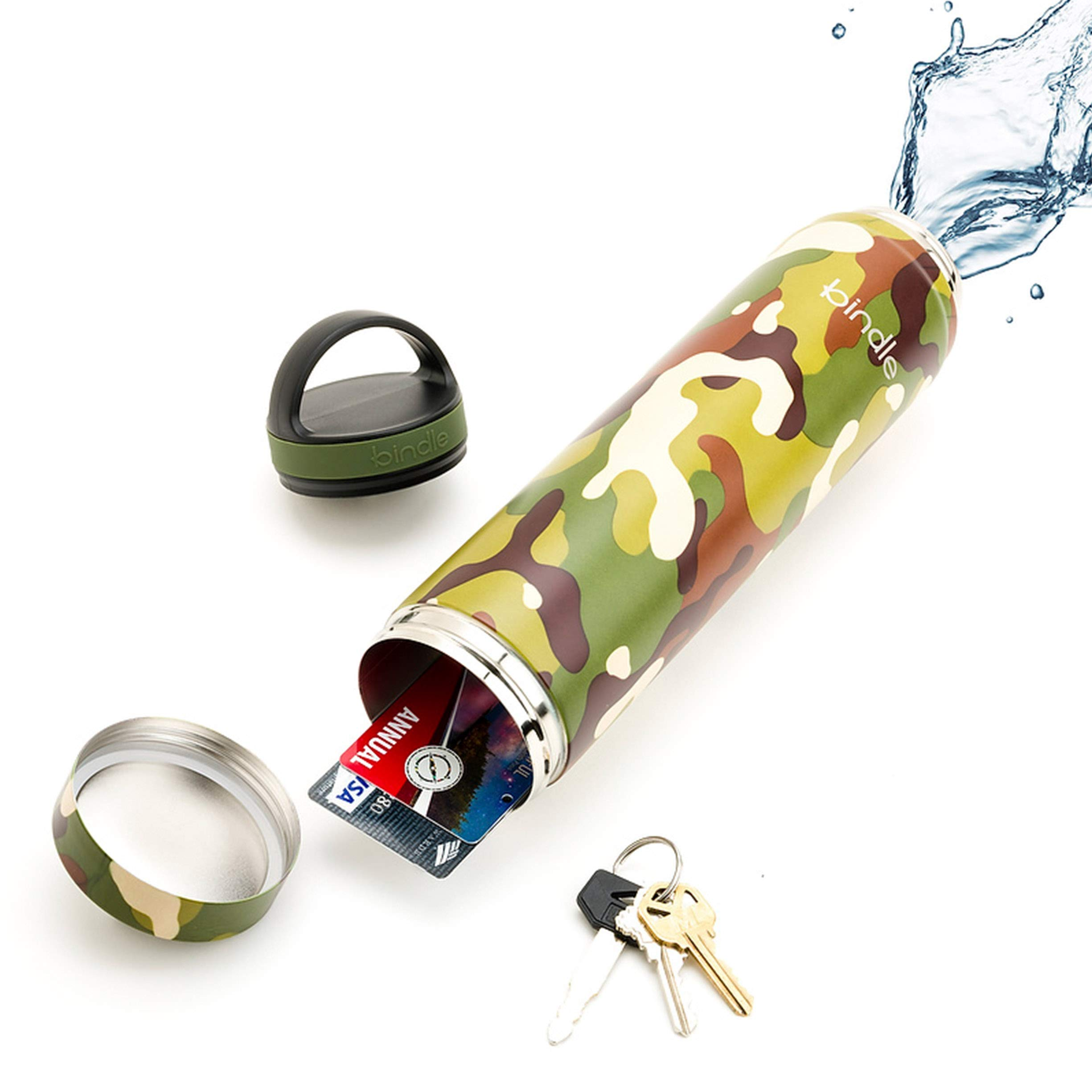 Bindle Bottle 20oz Slim Green Camo   Stainless Steel Double Walled & Vacuum Insulated Water Bottle with Storage/Stash Compartment   Cup Holder Friendly   Drinks Stay Cold for 24 Hours, Hot for 12
