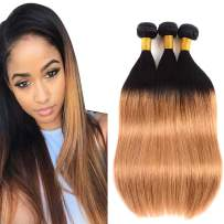 BK Beckoning Ombre Blonde Bundles Straight 1b/27 Brazilian Human Hair 12 14 16 inch 9a Grade Soft Ombre Virgin Hair Extensions 300g Black Roots To Blonde Weave 2 Tone for Women