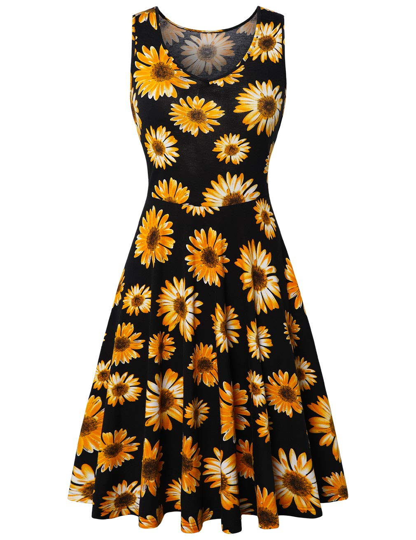 SUNGLORY Women's V Neck Sleeveless Summer Casual Elegant Midi Dress