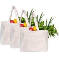 Jillmo Canvas Grocery Bags, 12oz Reusable Cotton Shopping Bag with 6 Interior Bottle Sleeves(3 Pack)